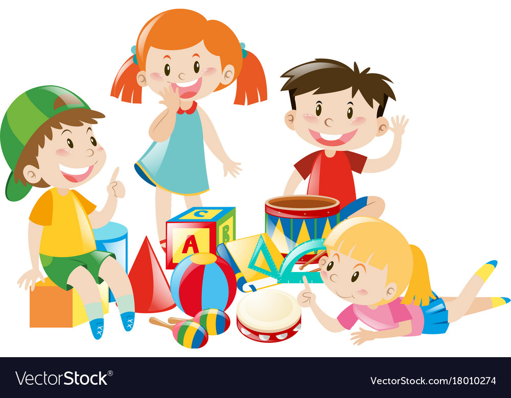 Four kids playing with toys Royalty Free Vector Image
