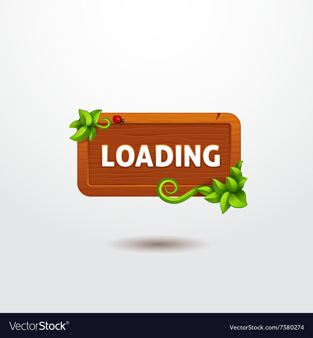 Game interface button loading on wooden template
