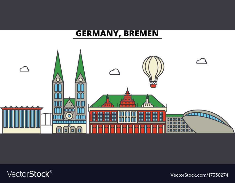 Germany bremen city skyline architecture vector image