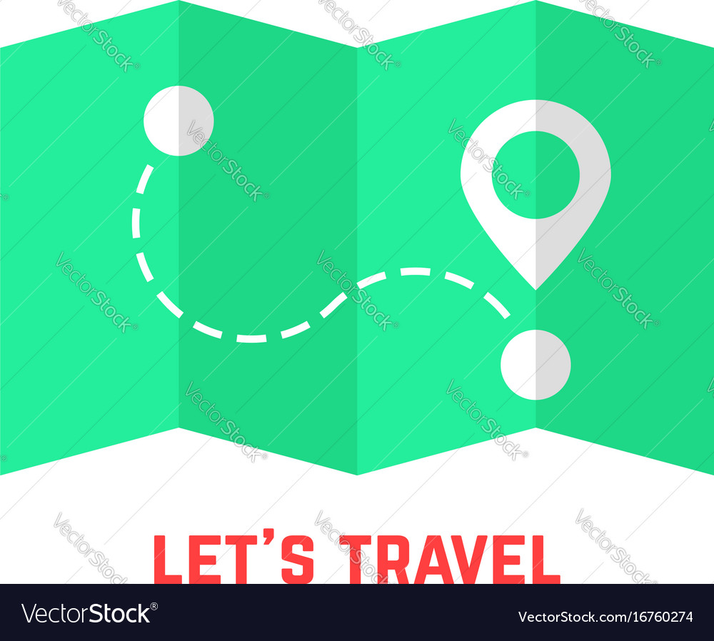 Green travel map with pin