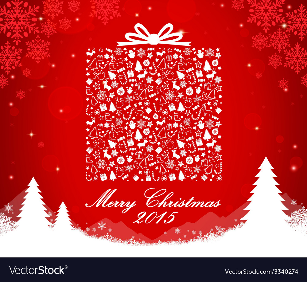 Merry Christmas gift box shape Royalty Free Vector Image