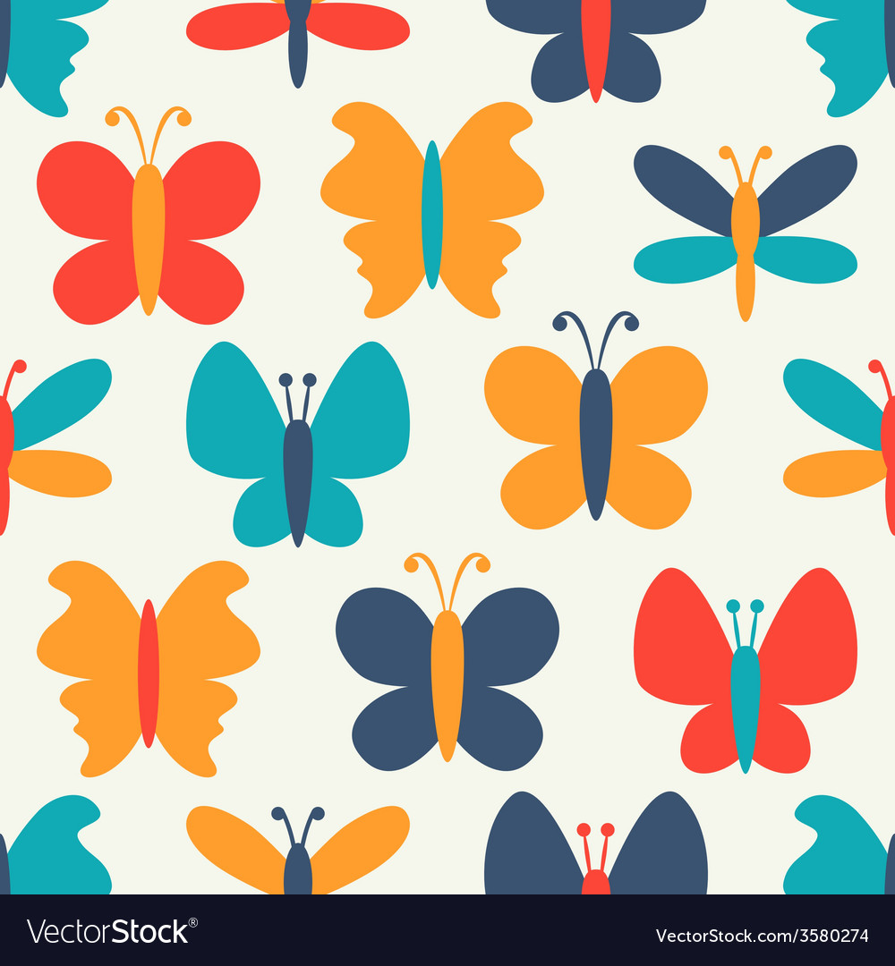 Retro seamless pattern of colorful butterfly