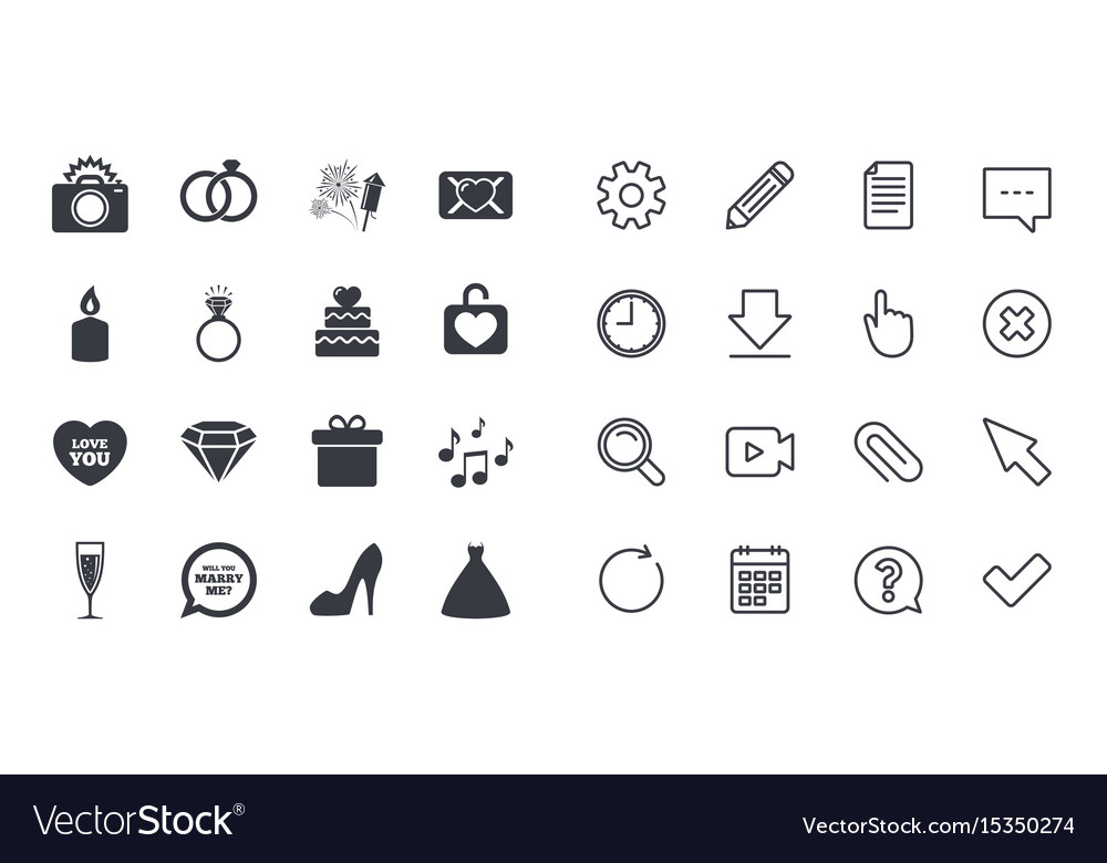 Set of wedding and engagement icons
