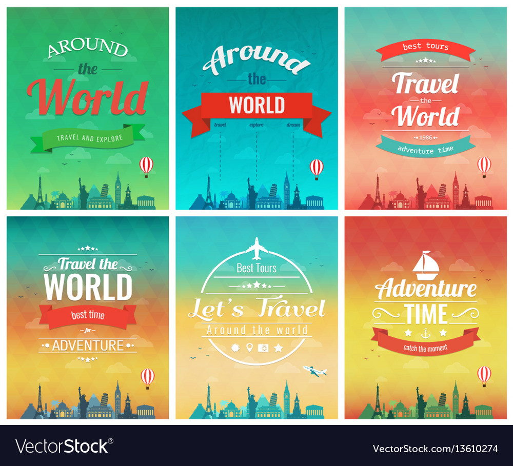 Travel Brochure With World Landmarks Template Of Vector Image