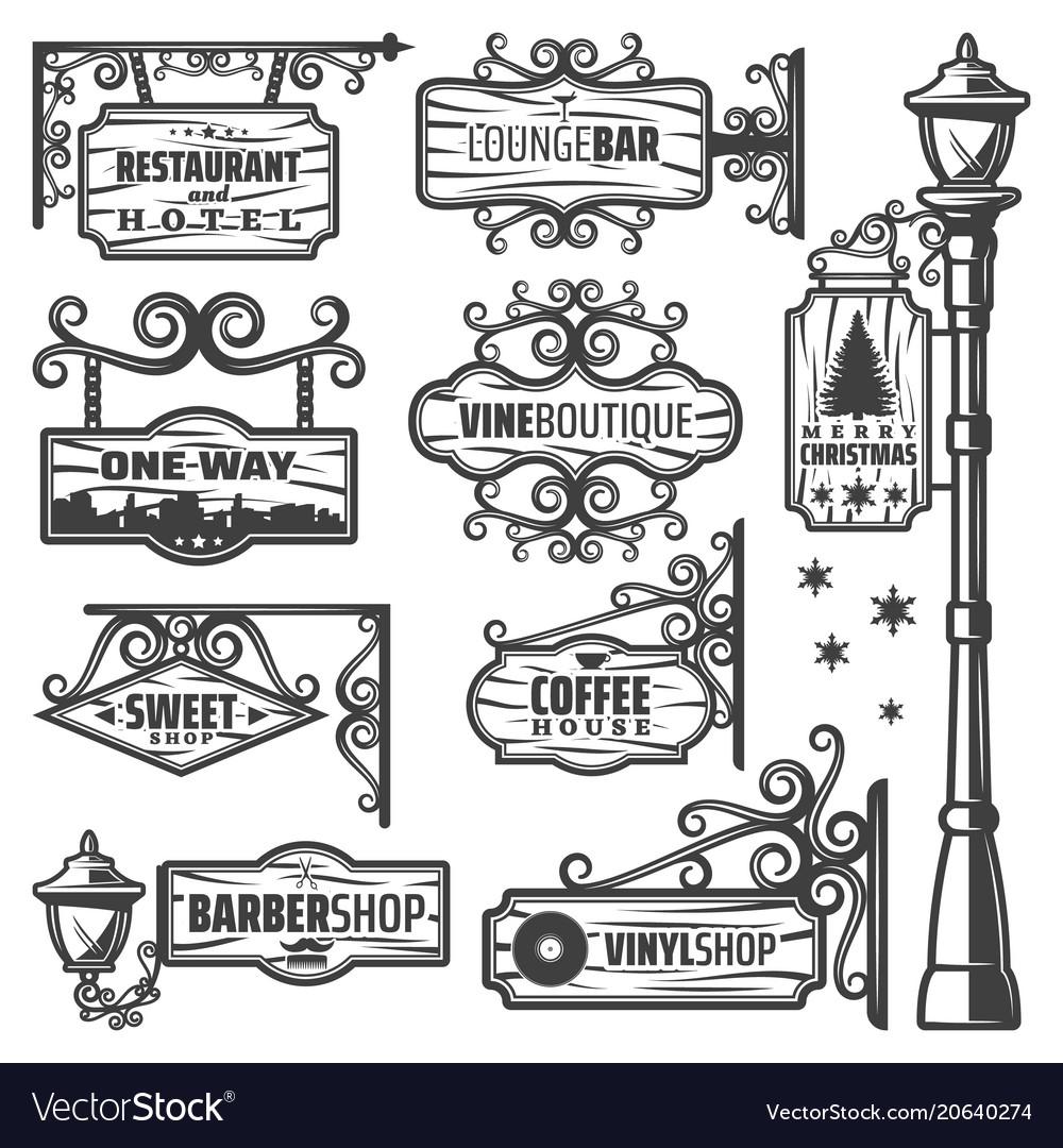 Vintage street lanterns labels set