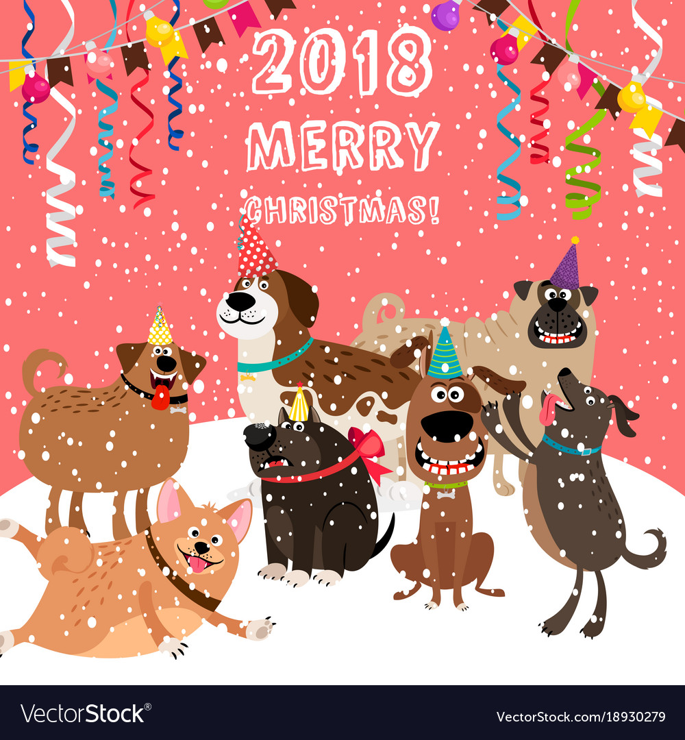 2018 christmas card with dogs party Royalty Free Vector