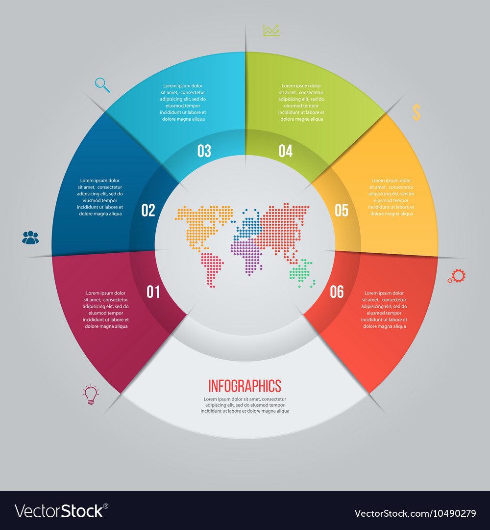 6 options pie chart template for graphs royalty free vector