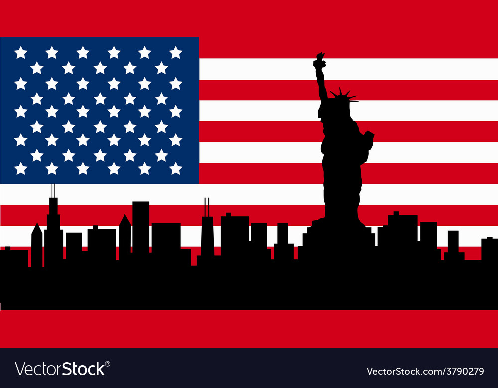 American Design with Statue of Liberty Flag