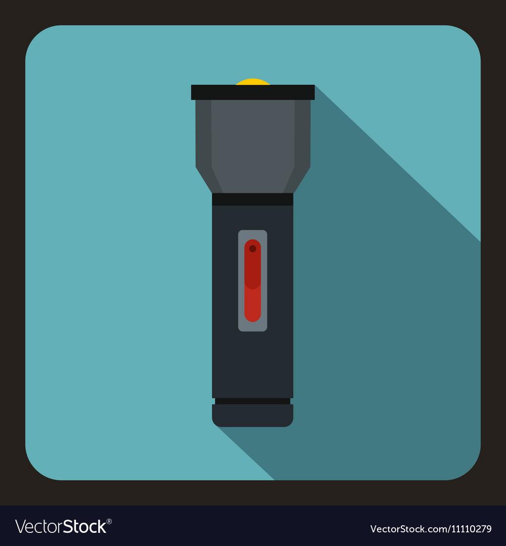 Black flashlight icon flat style vector image
