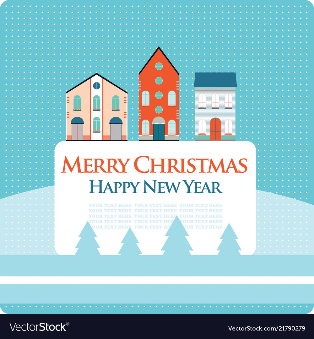 Christmas New Year Greeting Card With Street View