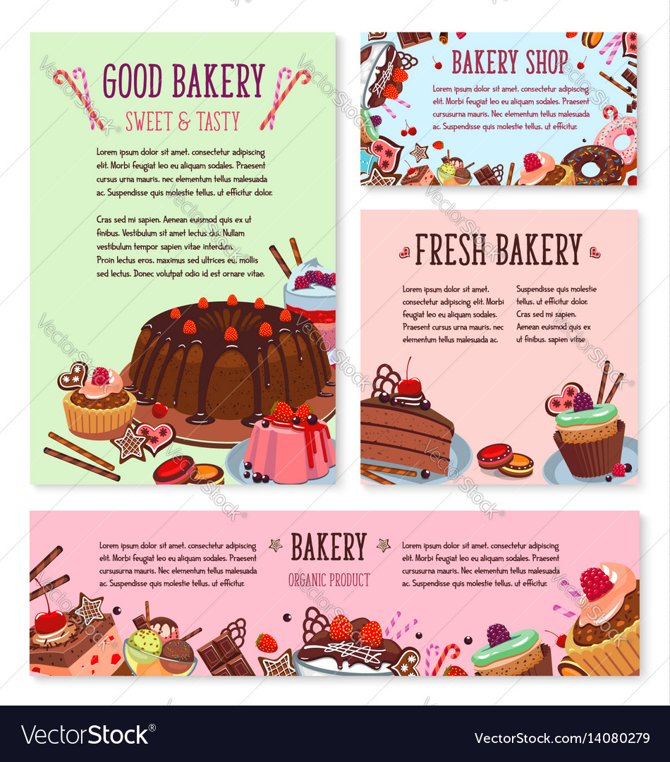 Desserts and cakes for bakery menu template