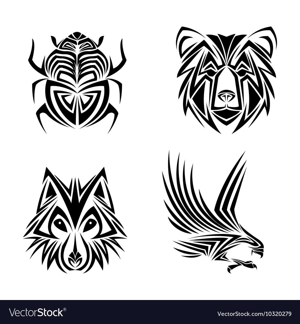 1a937cdbd Eagle wolf bear bug tattoo design Royalty Free Vector Image