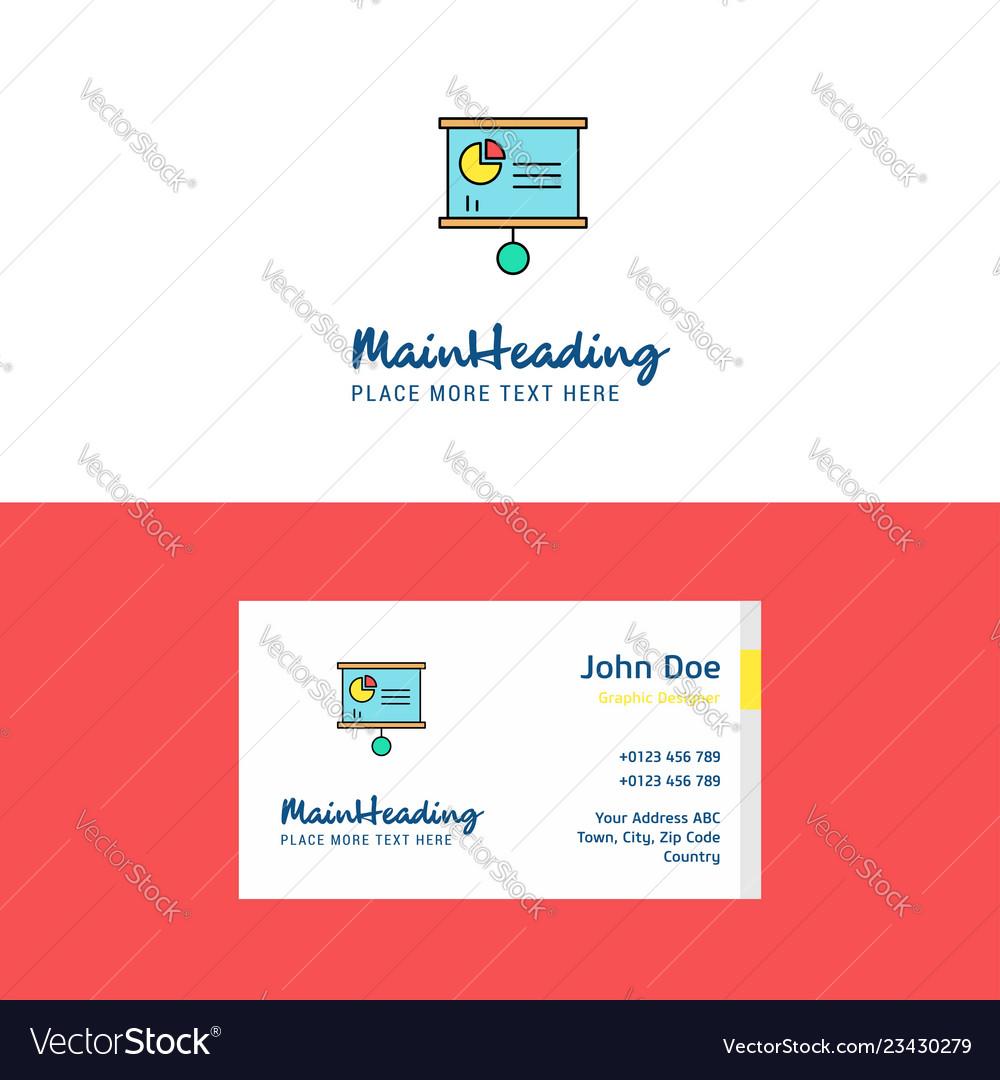Flat presentation chart logo and visiting card