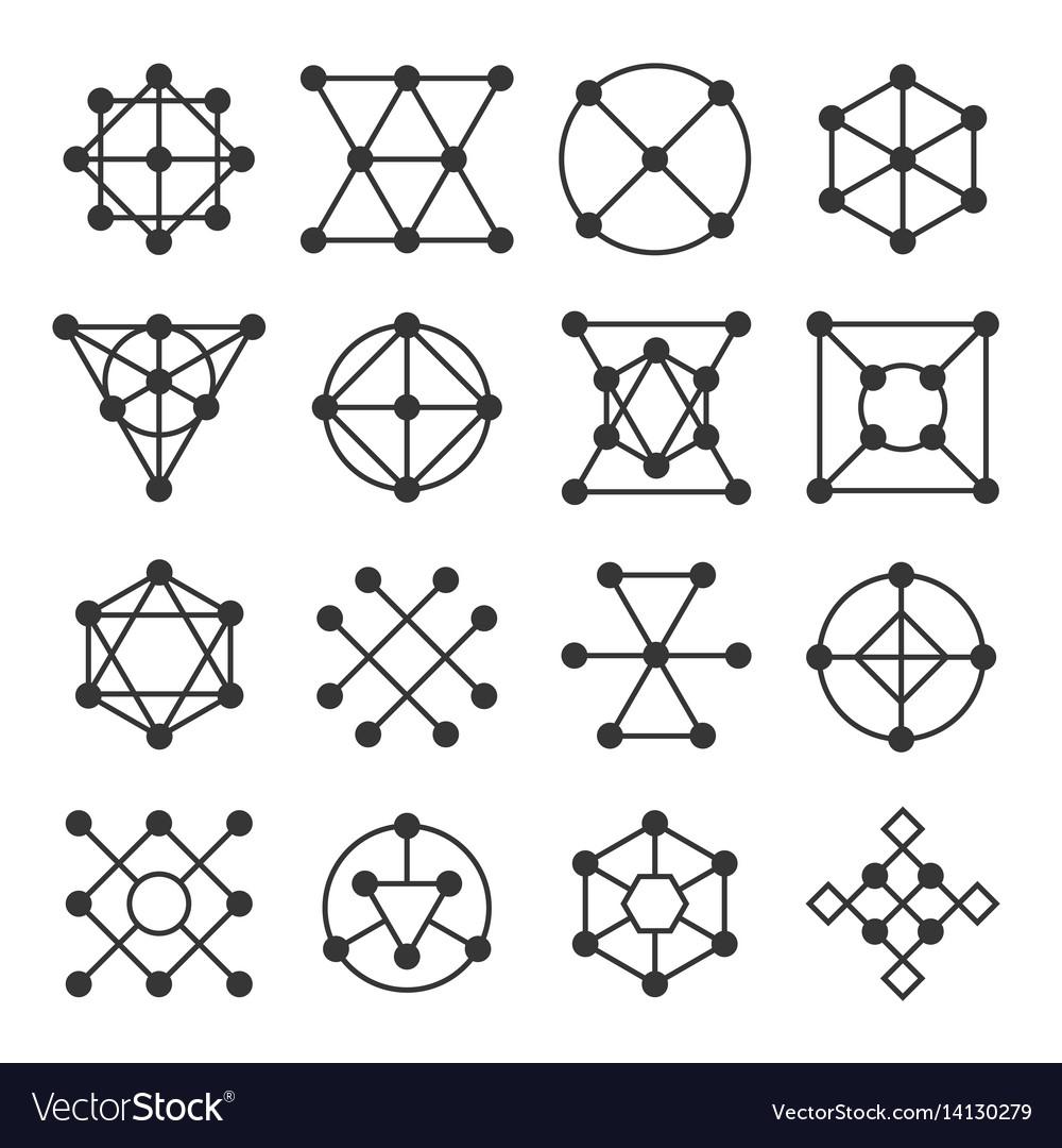 Geometric shape signs set line style logos
