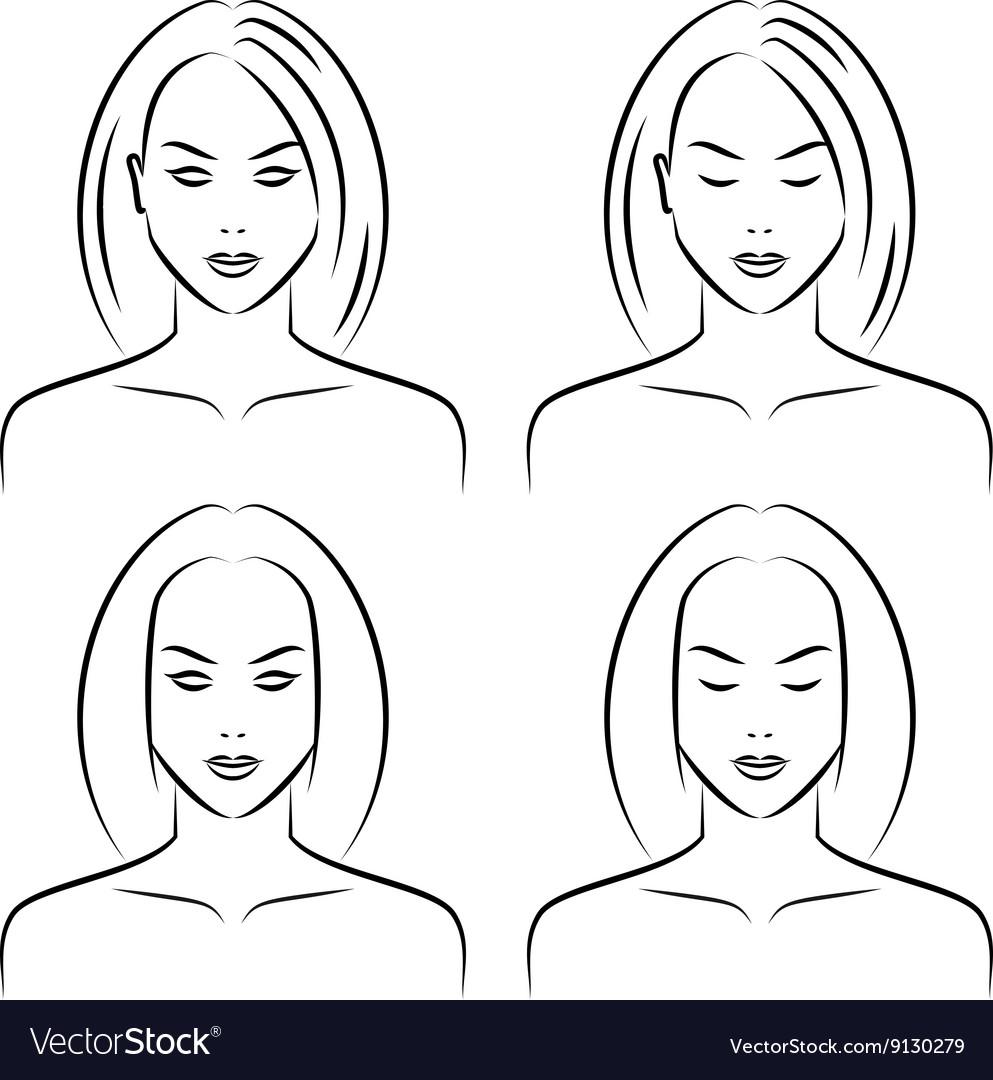 Hand drawn women face