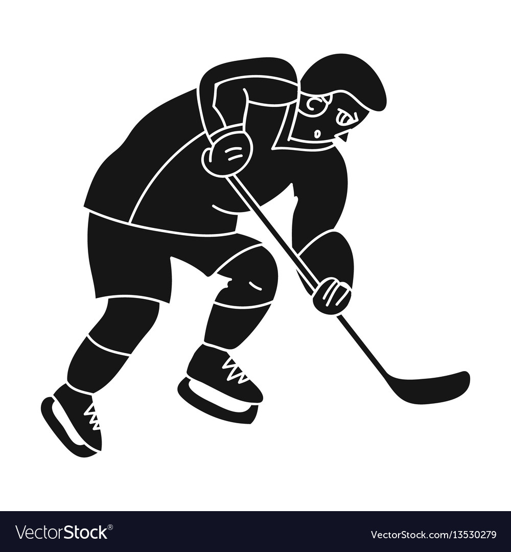 Hockey player in full gear with a stick playing