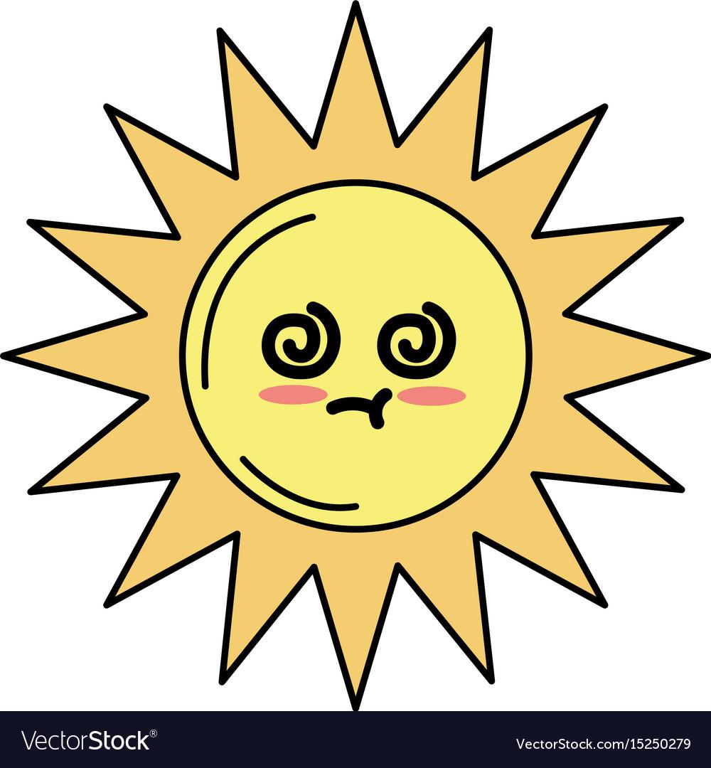 Kawaii cute sick sun emoji vector image