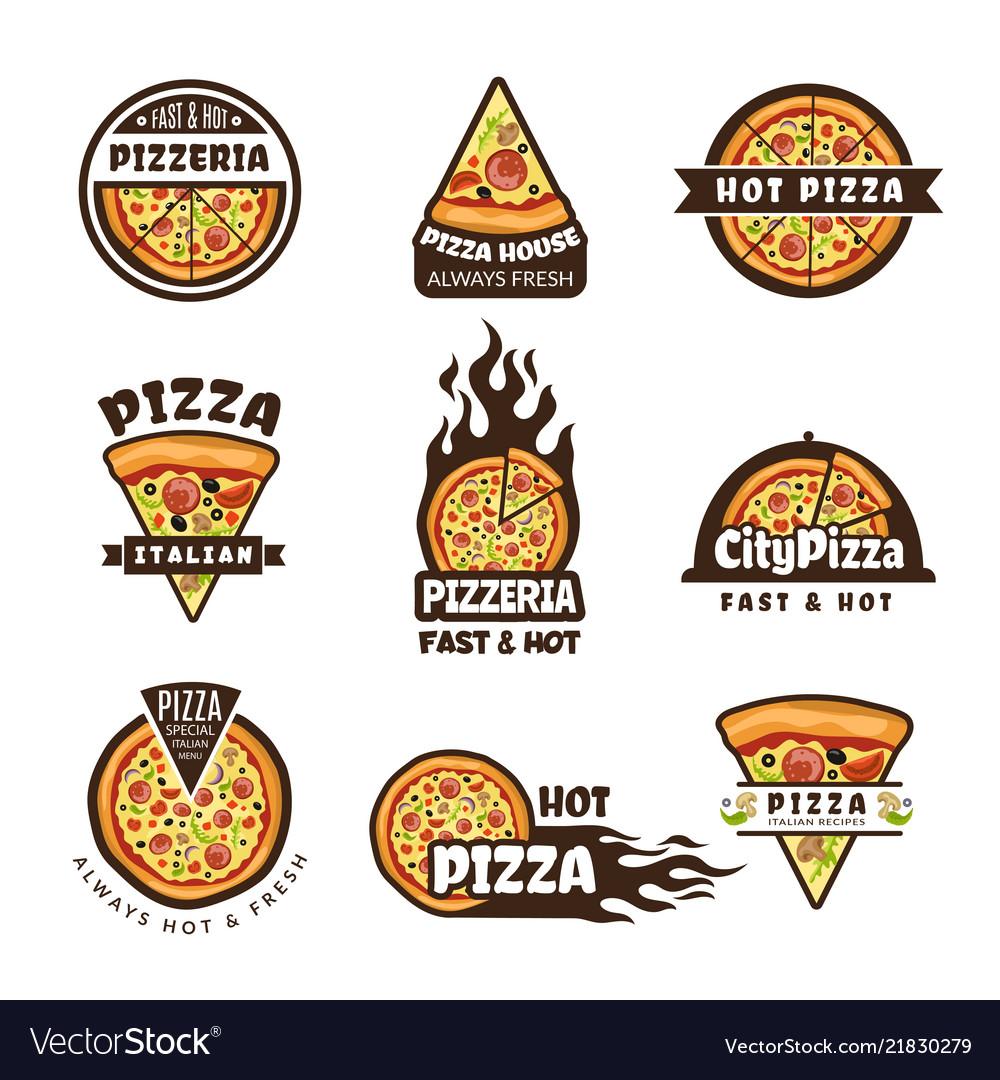 Pizza labels pizzeria logo design italian cuisine