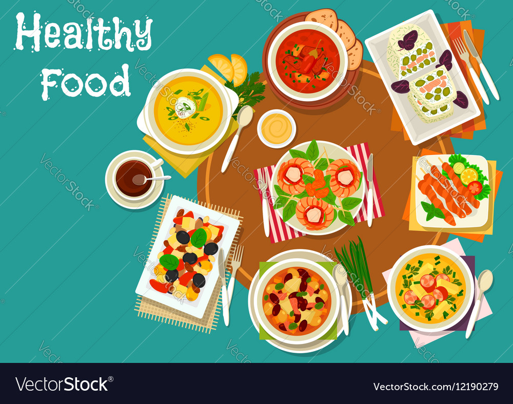 Popular dinner dishes icon for healthy food design