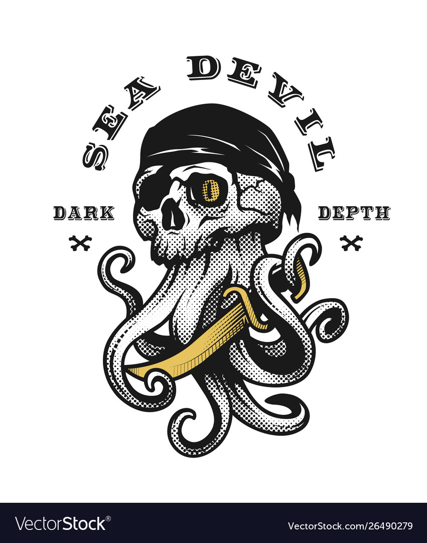 Sea devil pirate skull with tentacles octopus