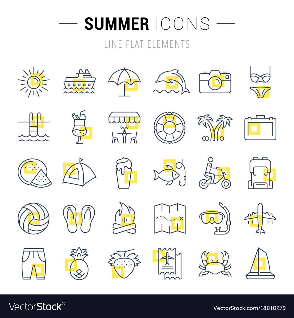 Set flat line icons summer