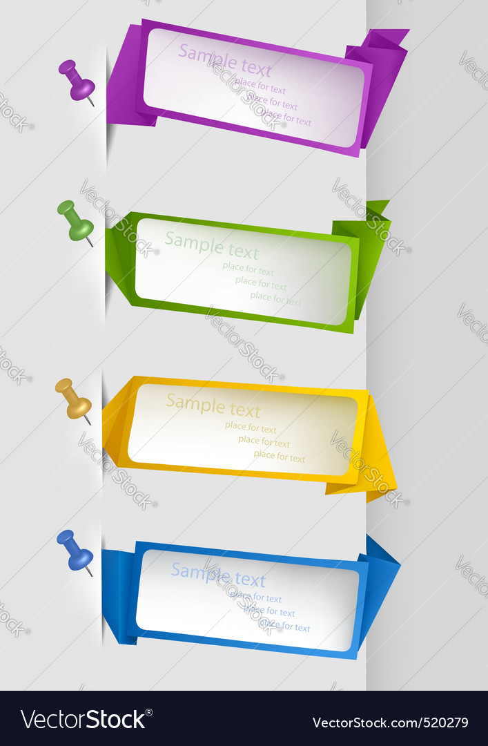 Set with origami banners with pushpins vector image