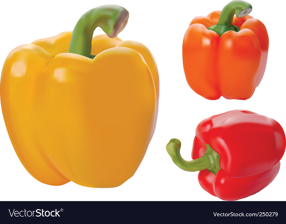 Yellow red and orange paprika
