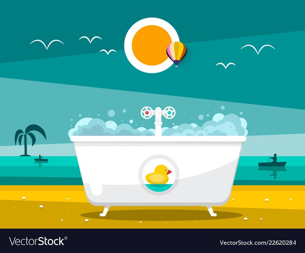Bathtub on beach with ocean on background