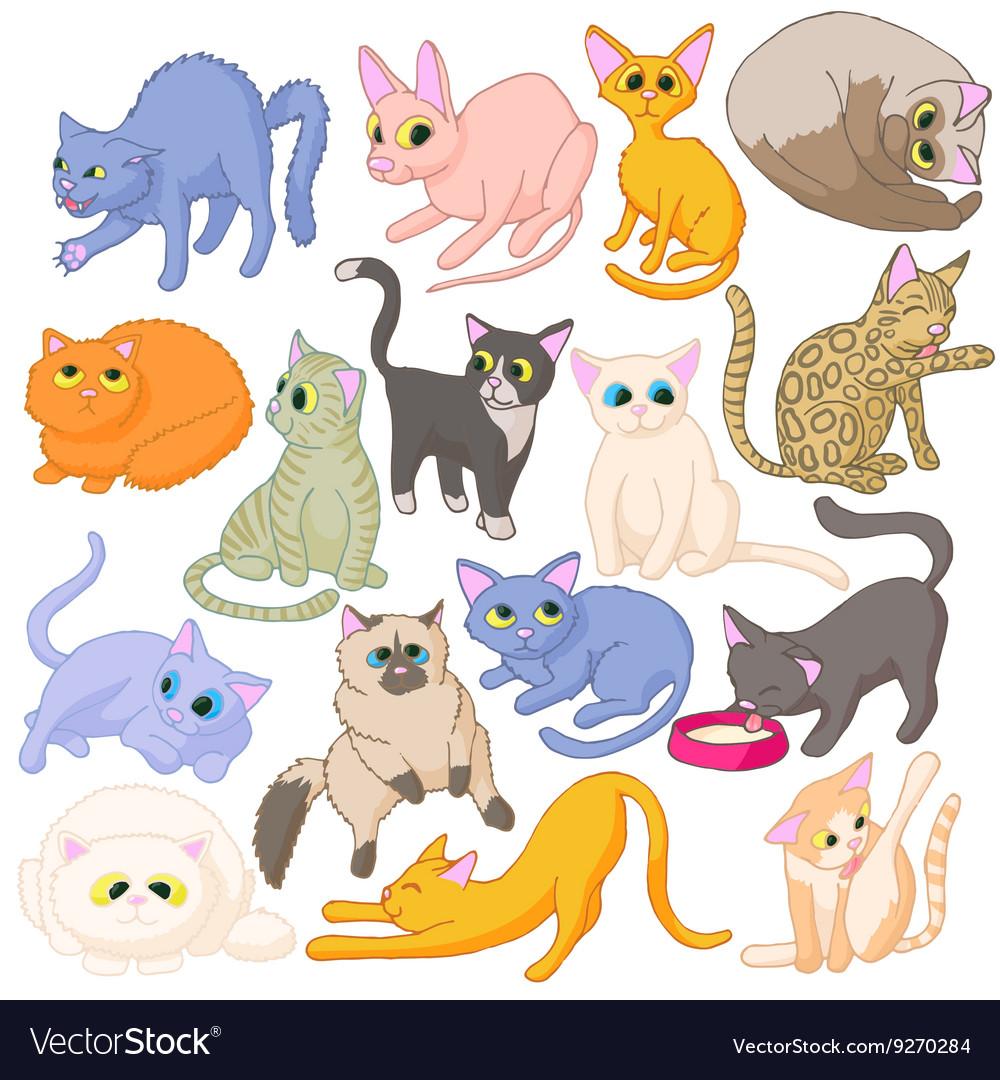 Cat icons set cartoon style vector image