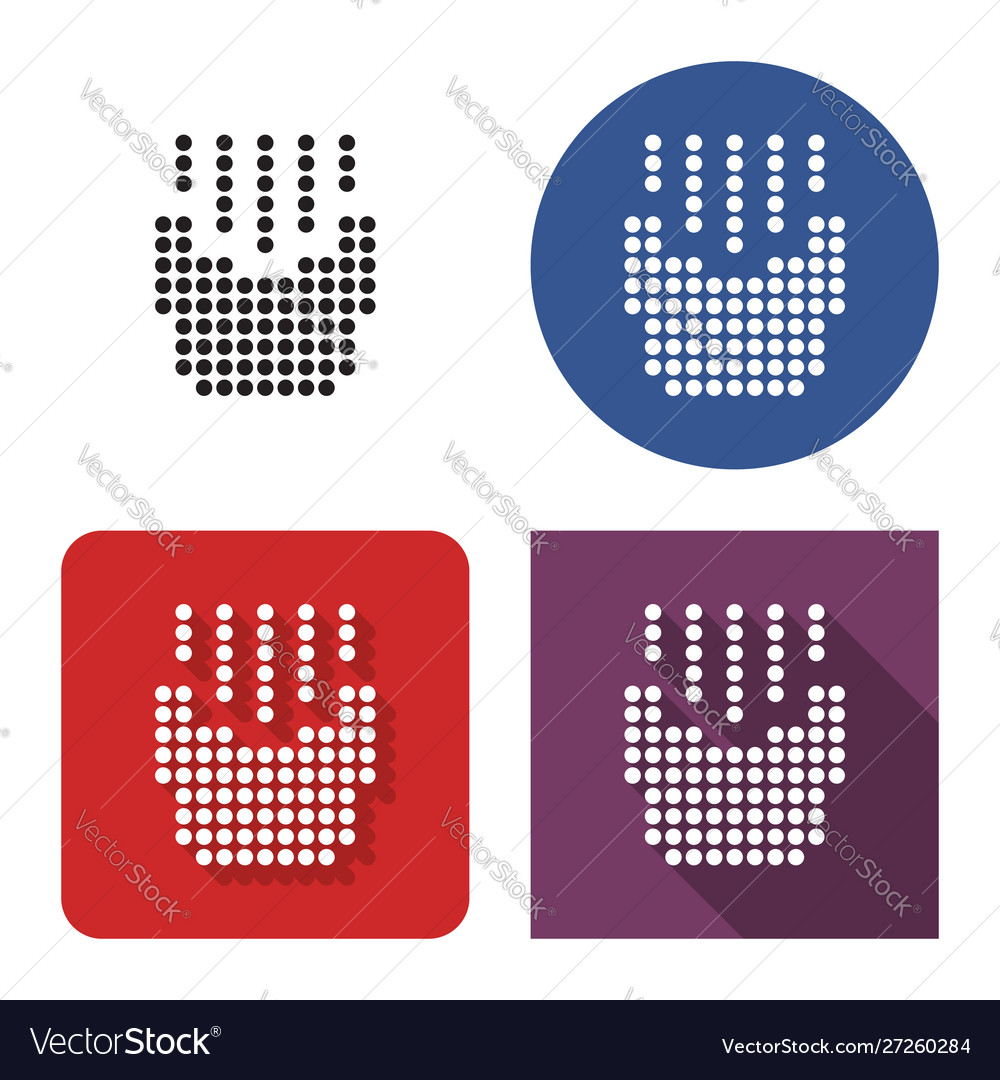 Dotted icon french fries in four variants with
