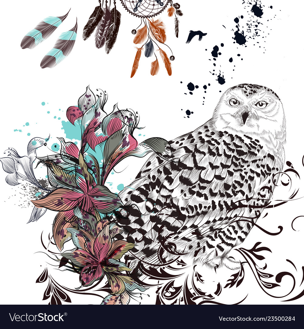 Fashion background with owl flowers and feathers
