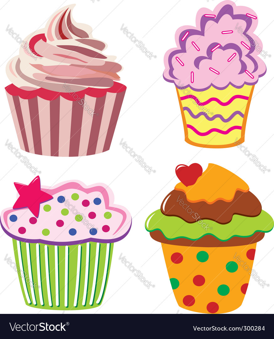 Four cupcakes vector image