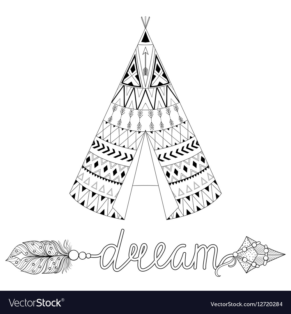 Hand drawn American native wigwam with ethnic