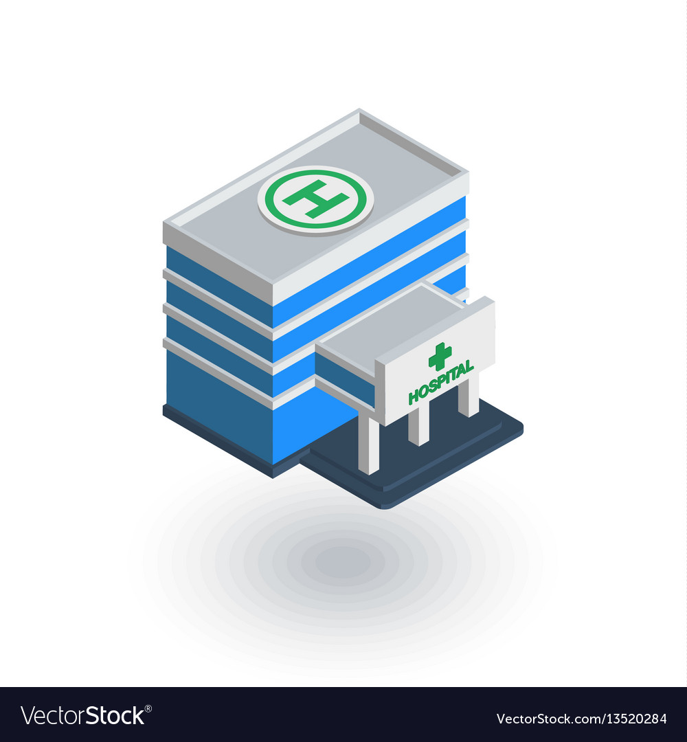 Hospital building isometric flat icon 3d