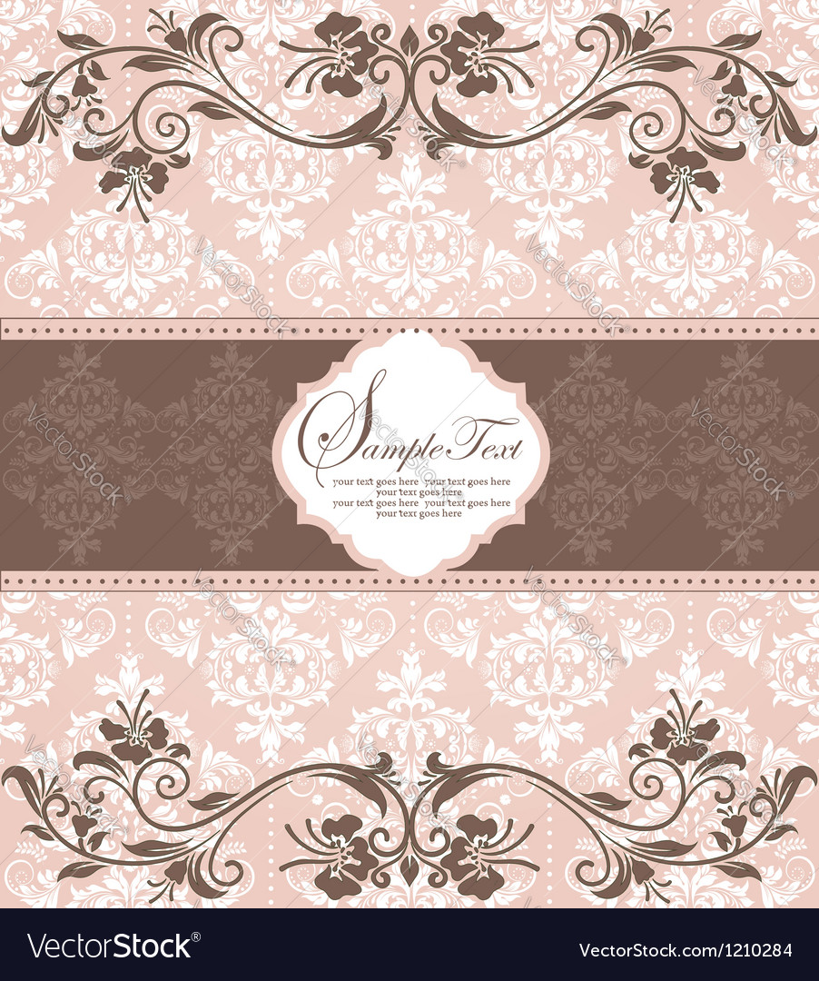 Invitation vintage card with floral elements vector image
