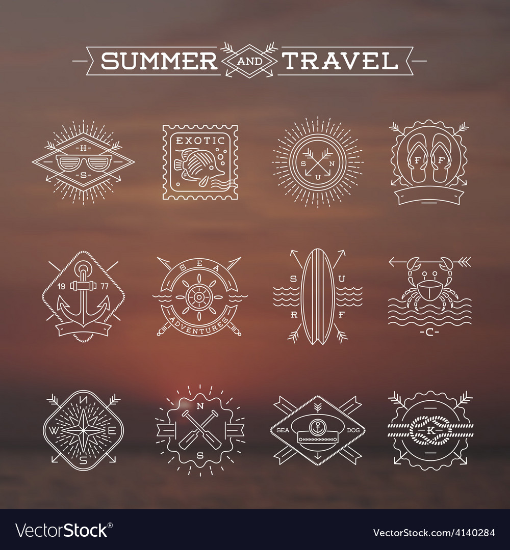 Line drawing Summer holidays and travel emblems