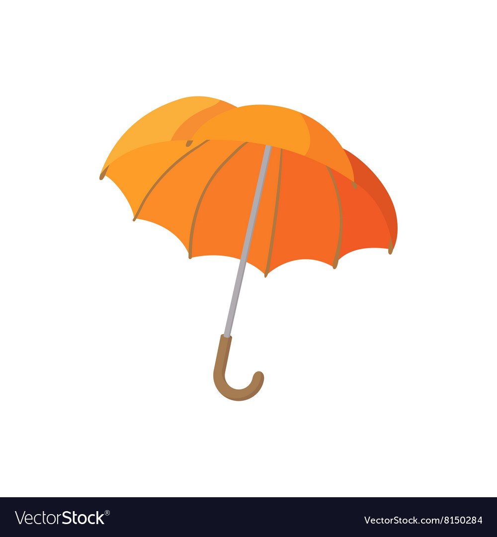 Open orange umbrella icon cartoon style Royalty Free Vector