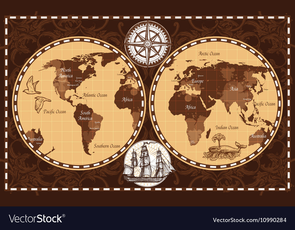 Retro World Map Royalty Free Vector Image Vectorstock