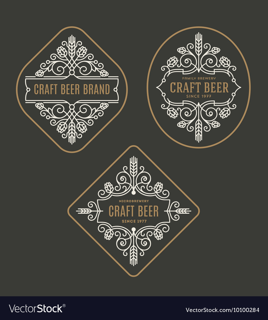 Set of craft beer and microbrewery emblems