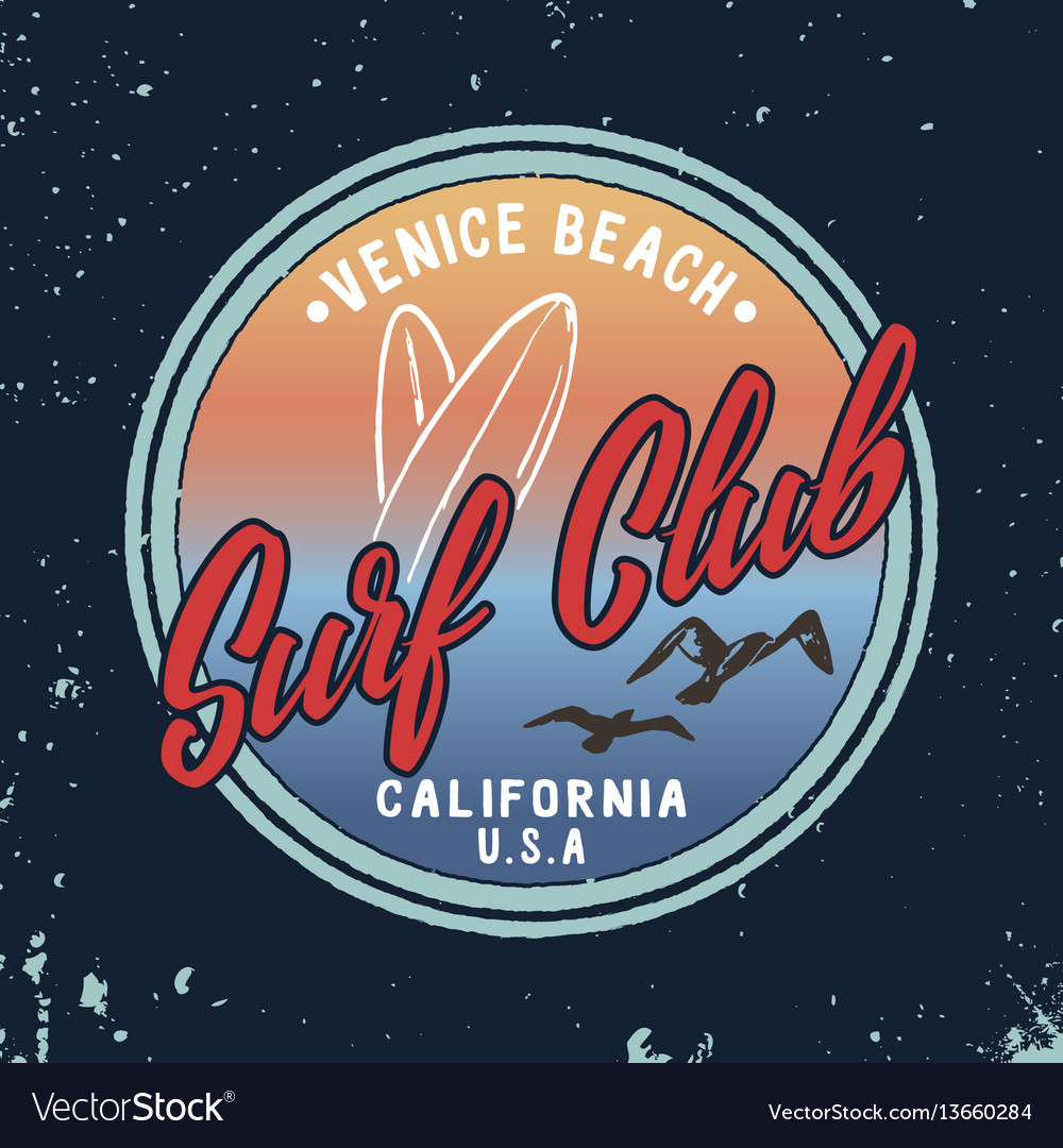 Summer surf club retro badge