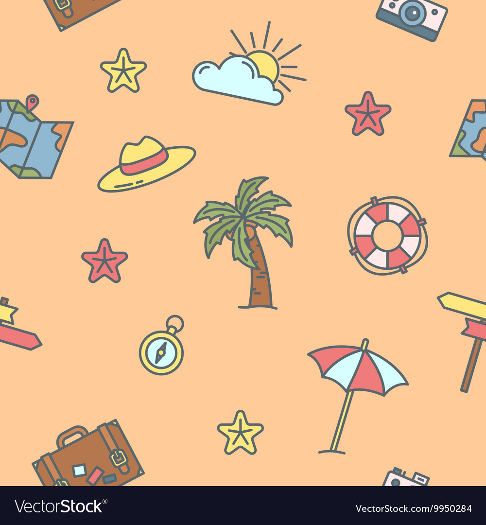 Summer Time Sea Vacation Seamless Pattern