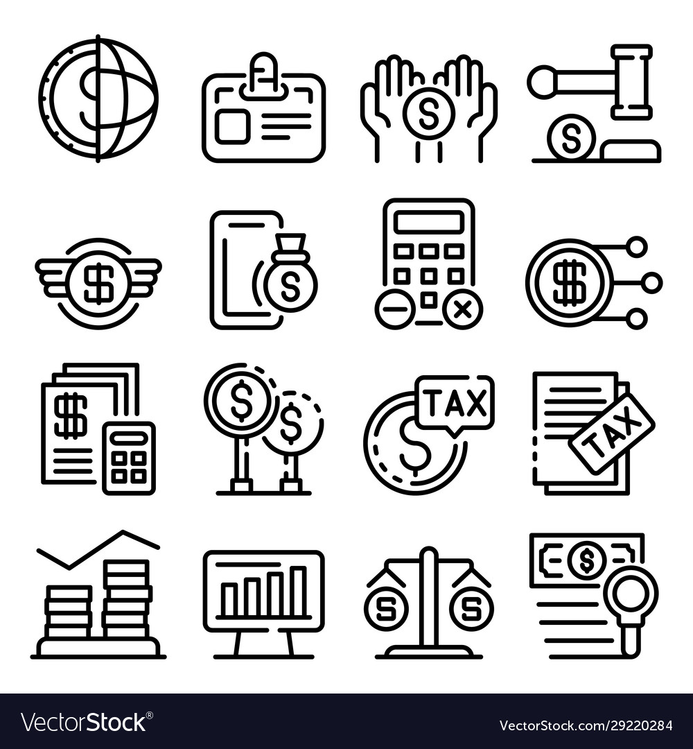 Tax regulation icons set outline style