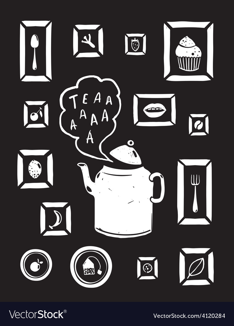 Teapot Drinking Tea and Cooking Art Frames on