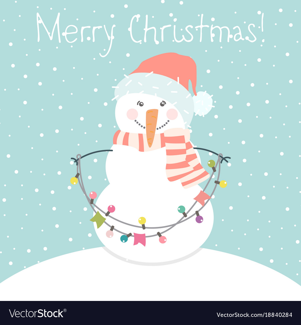 winter card with cartoon cute snowman royalty free vector