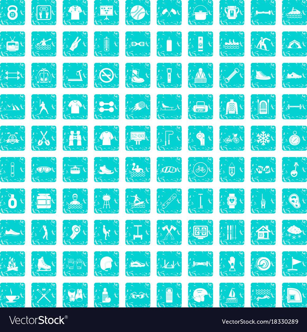 100 sport life icons set grunge blue