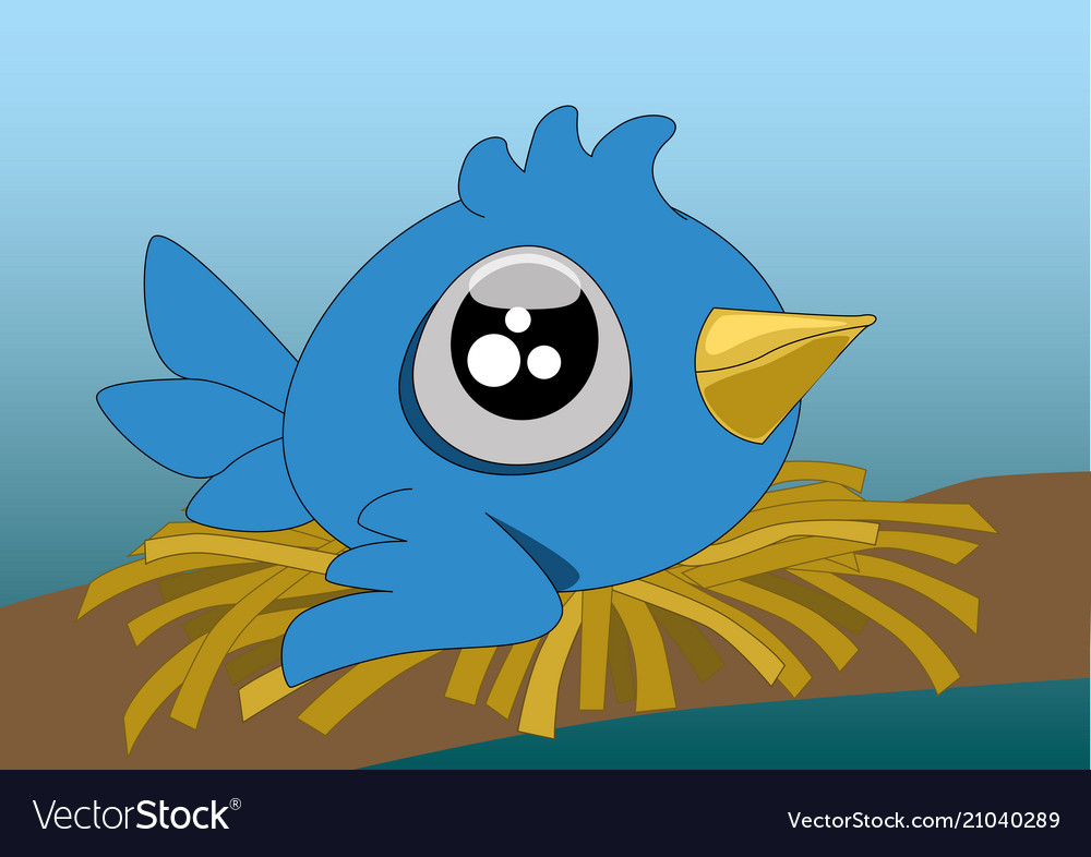 A little cartoon blue bird with big eyes in its