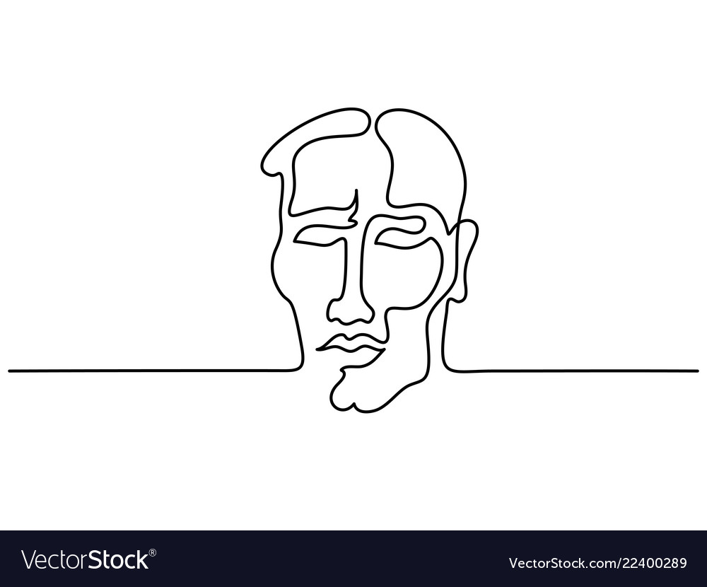 Abstract portrait of young man continuous line