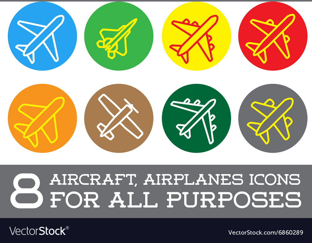 Aircraft or Airplane Icons Set Collection Colorful