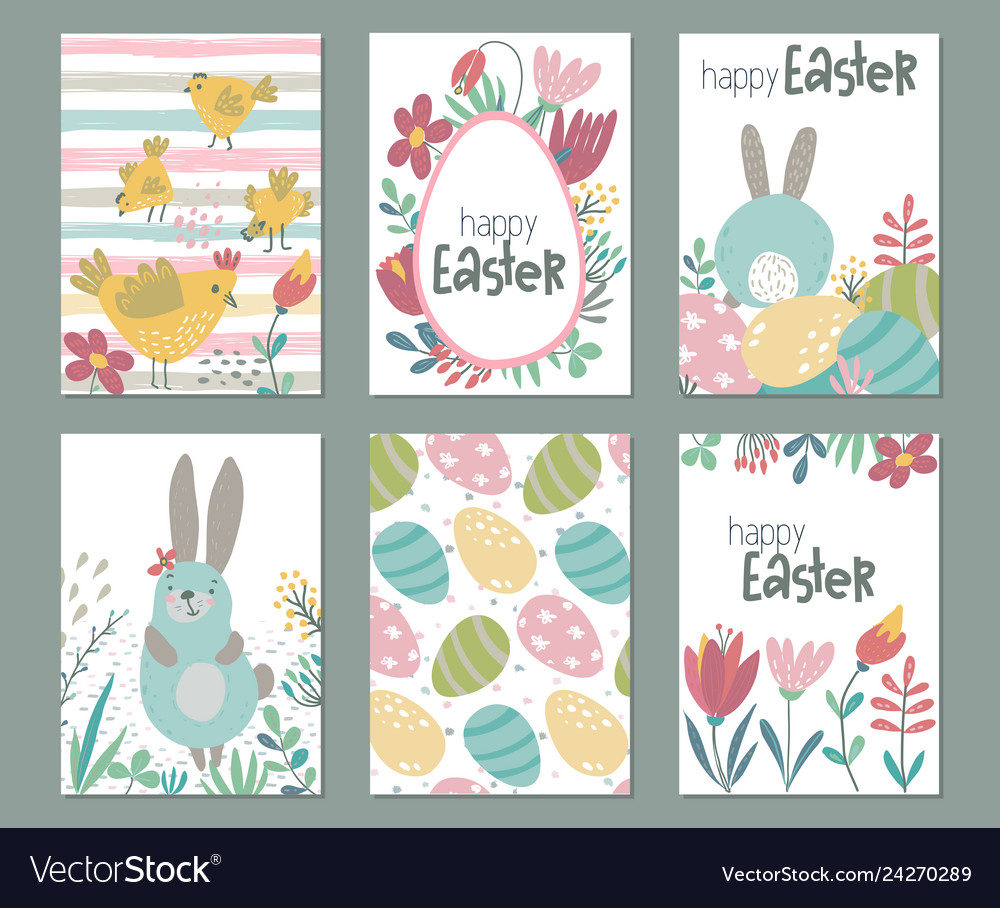 Collection of six easter cards with rabbits