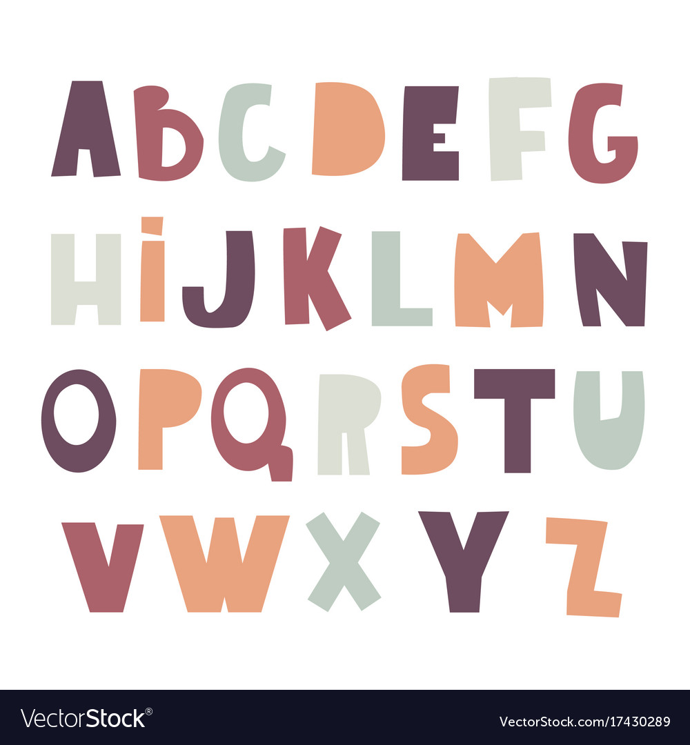 Cute Decorative Alphabet In Cutted Style Childish Vector Image On VectorStock